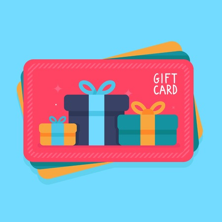 a card: gift card in flat style - shopping certificate with present icons