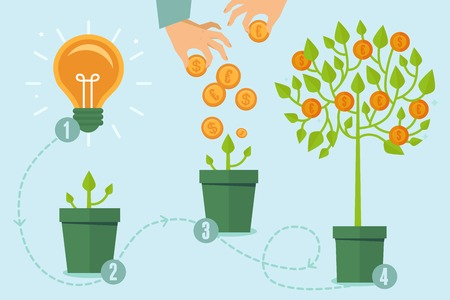 grow money: crowdfunding concept in flat style - new business model - funding project by raising monetary contributions from crowd of people