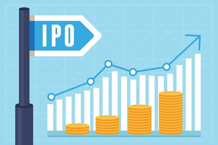public offering: IPO (initial public offering) concept in flat style - investment and strategy icons