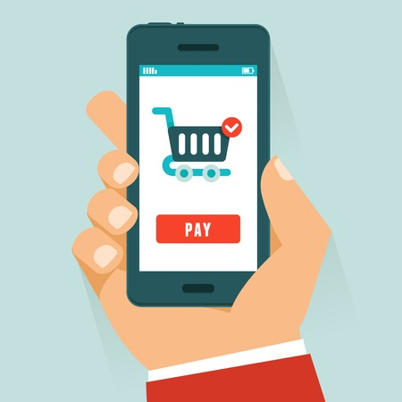 mobile payment concept in flat style - human hand holding mobile phone with shopping cart and pay button on the screen Иллюстрация