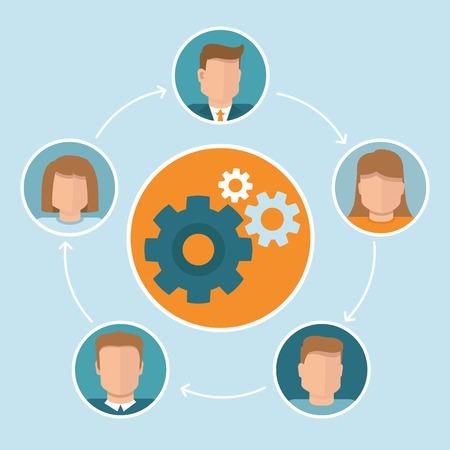 teamwork concept in flat style  - infographic design elements Çizim