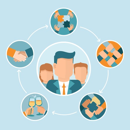 teamwork concept: teamwork and cooperation concept in flat style - partnership and collaboration icons - businessmen hands