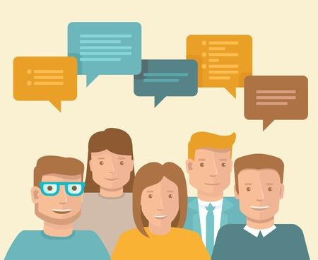 平らな概念 - チームワークとブレーンストーミング - ビジネスのアイコン