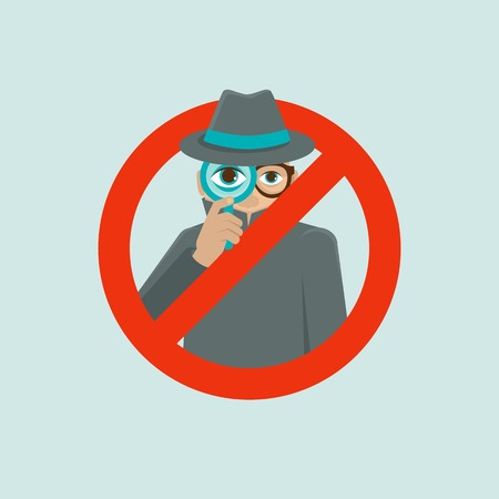 surveillance and control concept - detective illustration in flat style - big brother is watching you Illustration