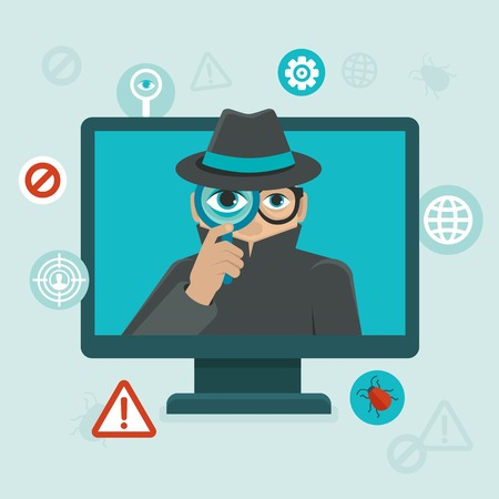 computer hacker: flat icons and illustrations - internet security and spayware warning - computer attack and virus infection Illustration