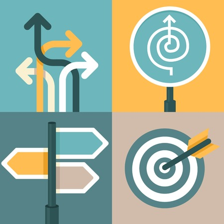 direction: abstract strategy concepts in flat style - business signs and icons Illustration