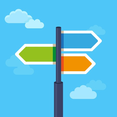 road sign: abstract strategy concept in flat style - road sign with different arrows