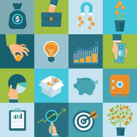벡터 플랫 스타일의 금융 및 비즈니스 개념의 세트 - 투자 및 사업에 자본을 유치