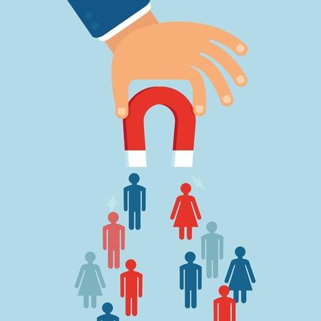 calamita: Concetto di affari di vettore in stile piatto - attirare clienti e clienti per le imprese - magnete tenendo la mano di uomo d'affari