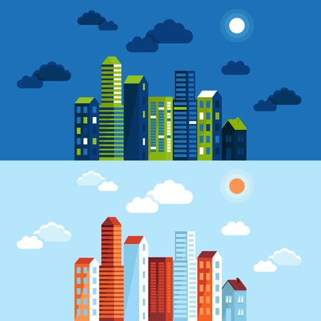 Vector city illustration in flat simple style - houses and buildings on horizontal banners - website headers - towns in different time of day Vector