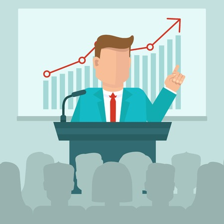 Vector business conference concept in flat style - man speaking in front of presentation screen with graph