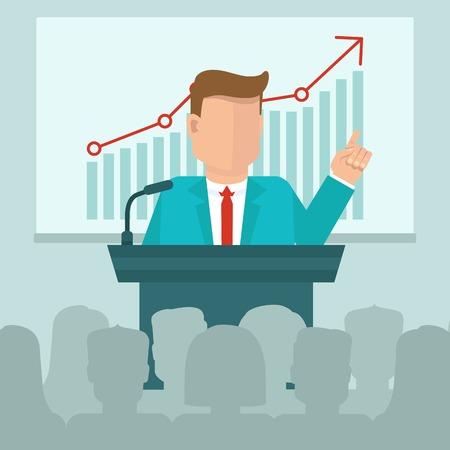 그래프와 프리젠 테이션 화면 앞에 말하는 사람 - 플랫 스타일에서 벡터 비즈니스 회의 개념