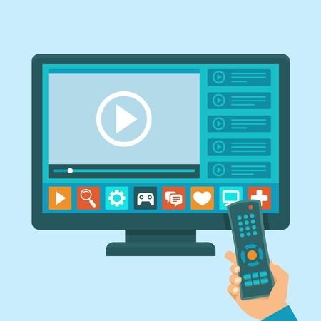 télé: Vector smart concept de télé - illustration dans le style plat avec des applications et d'un lecteur vidéo à l'écran et la main tenant la télécommande