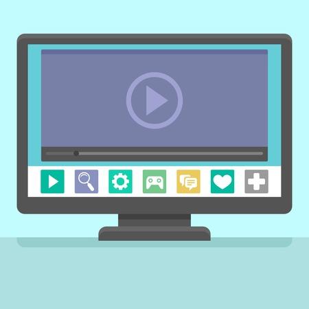 Vector elegante concept tv - ilustración en estilo plano con aplicaciones y reproductor de vídeo en la pantalla y la mano que sostiene el control remoto