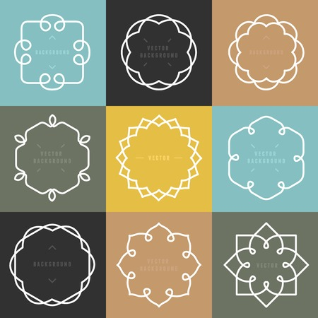 Flower: set di emblemi di contorno e distintivi Vettoriali