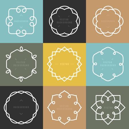 beautiful flower: set of outline emblems and badges Illustration