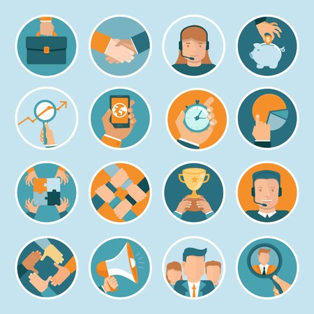 Vector business concepts in flat style - bright illustrations on round backgrounds