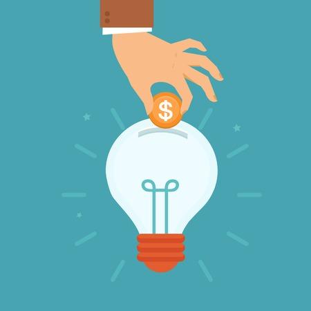 フラット スタイル - 男の手入れ黄金コイン電球内部 - 投資と技術革新にお金の概念を集めてベクトル アイデア