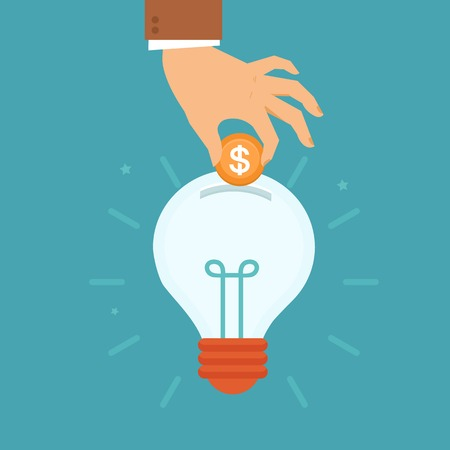 investment concept: Vector idea attracting money concept in flat style - mans hand putting golden coin inside the light bulb - investment and innovation