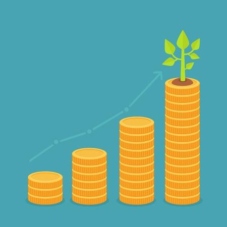 in aumento: Concepto de crecimiento del vector en estilo plana - pila de monedas de oro y la pequeña planta verde