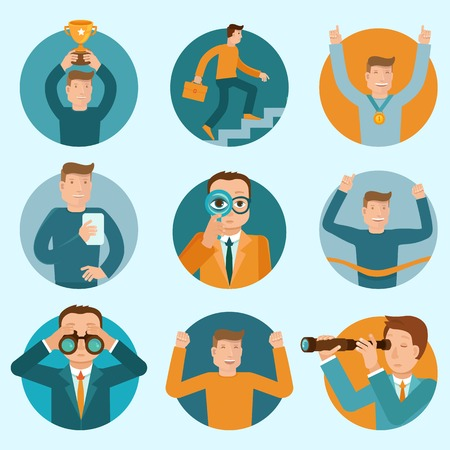 Vector set of flat business illustrations and concepts - cartoon characters winning, developing and improving their careers Vector