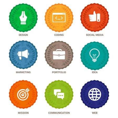 programing: Vector flat badges - emblem for different services and departments Illustration