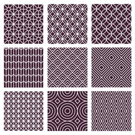 Vector seamless patterns établis dans le style de la ligne de tendance mono - 9 textures minimales et géométriques Vecteurs