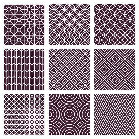 Vector seamless patterns set in trendy mono line style - 9 minimal and geometric textures Vector