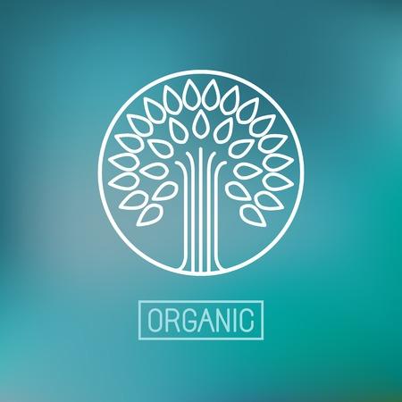 ベクトル抽象エンブレム - 概要モノグラム オーガニック ショップ - 抽象的なデザイン要素 - 木のシンボル - コンセプト - ロゴのデザイン テンプレ