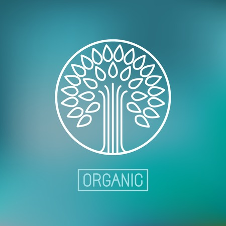 Vector abstract emblem - outline monogram - tree symbol - concept for organic shop - abstract design element - logo design template