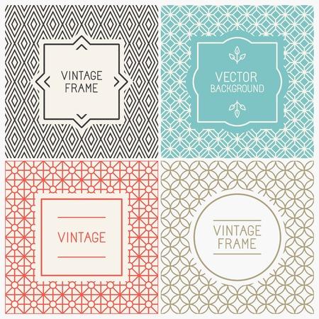 graphics: Vector mono lijn grafisch ontwerp sjablonen - etiketten en insignes op decoratieve achtergronden met eenvoudige patronen
