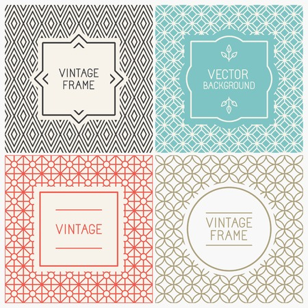 Vector mono line graphic design templates - labels and badges on decorative backgrounds with simple patterns