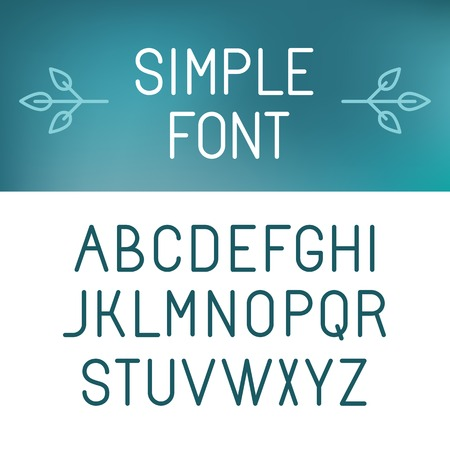 Vector minimalistic font set - outline letters in modern style