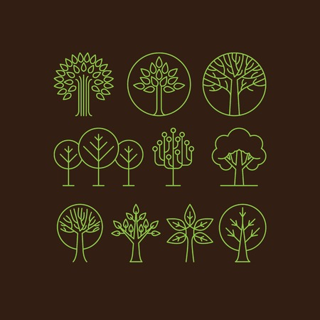 Vector organic tree icons - outline  monograms and logos -ecology and bio design elements Vector