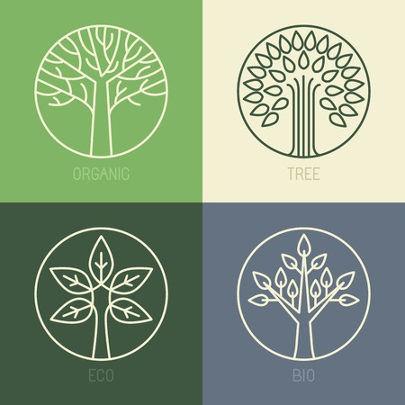 tree outline: Vector organic badges - outline circle monograms and logos -ecology and bio design elements Illustration