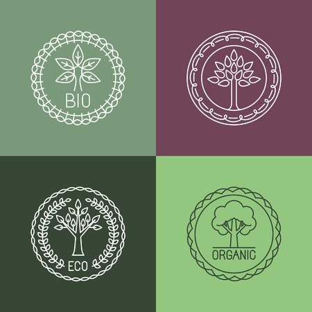 Vector organic badges - outline circle monograms and logos -ecology and bio design elements Vector
