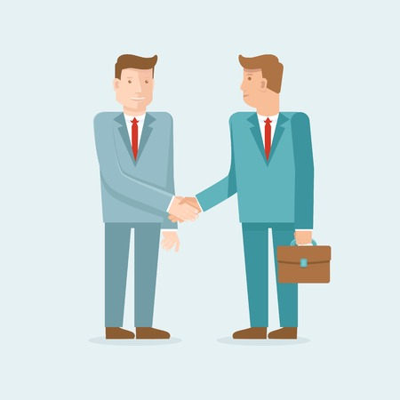 Vector teamwork and cooperation concept in flat style - male partners shaking hands - agreement and business icon Vector