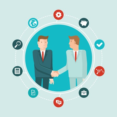 job offers: Vector teamwork and cooperation concept in flat style - male partners shaking hands - agreement and business icon