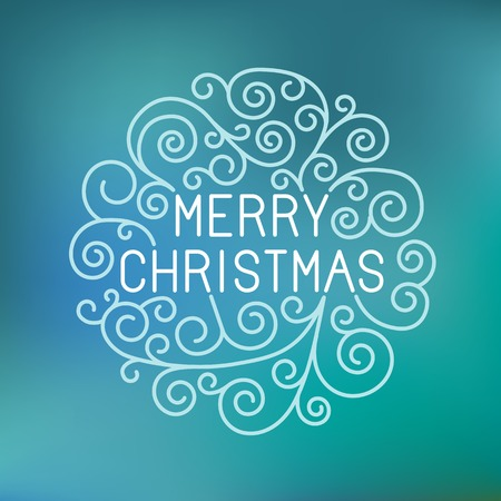 hand lettering: Vector merry christmas hand lettering in outline style - greeting card with decorative typography and line flourishes on blue blurred  background
