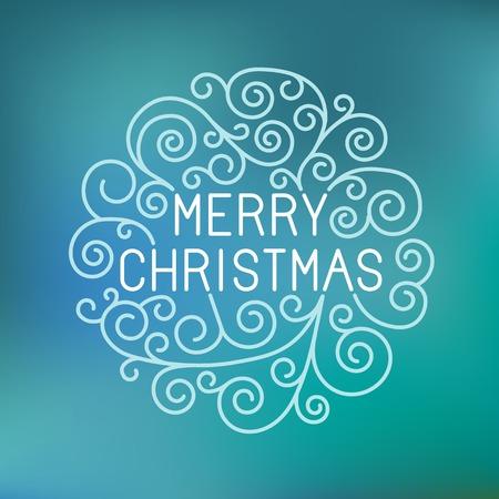 tipografia: Vector merry christmas mano letras en estilo de contorno - tarjeta de felicitaci�n con la tipograf�a decorativa y l�nea florece en fondo azul borrosa