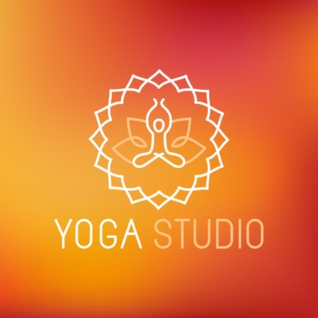 yoga meditation: Vector yoga icon in outline style - graphic design element or logo template for spa center or yoga studio