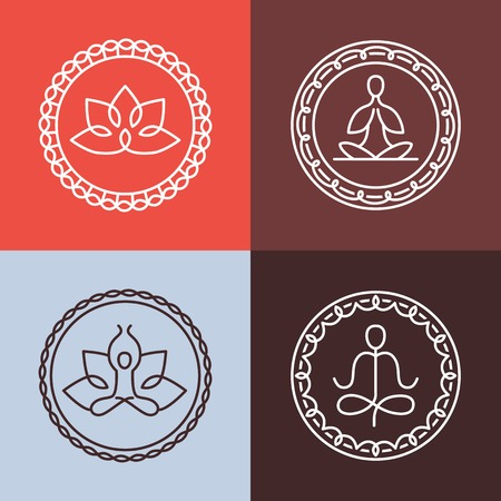 yoga studio: Vector yoga icons and round line badges - graphic design elements in outline style  or logo templates for spa center or yoga studio