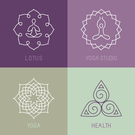 spiritual energy: Vector yoga icons and round line badges - graphic design elements in outline style  or logo templates for spa center or yoga studio