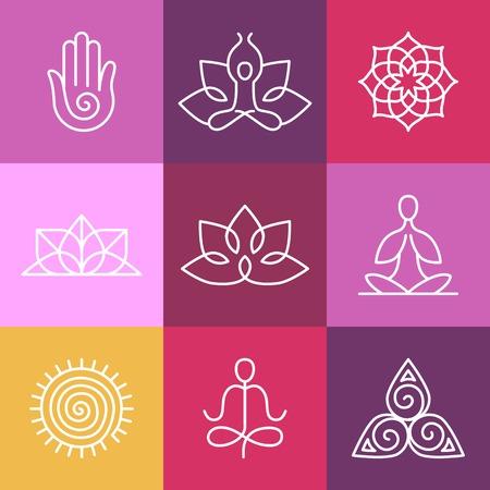 Icônes vecteur de yoga et des badges en ligne rondes - éléments de conception graphique dans le style de légende ou de modèles de logo pour centre de spa ou studio de yoga