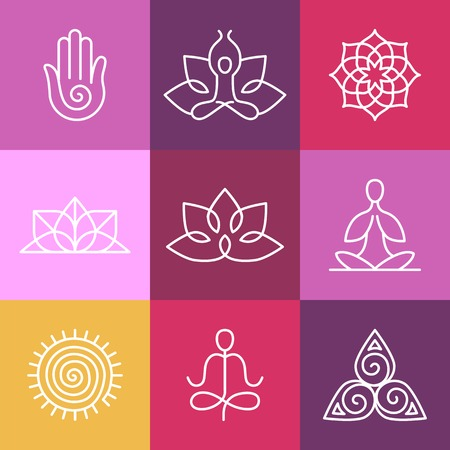 wellbeing: Vector yoga icons and round line badges - graphic design elements in outline style  or logo templates for spa center or yoga studio
