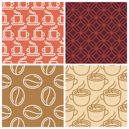 Vector coffee seamless patterns in simple line style Vector
