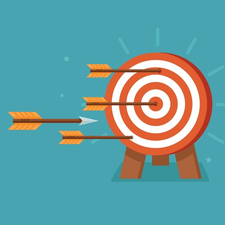 conceito: Vector apontar com as setas no estilo plano - metas de realiza