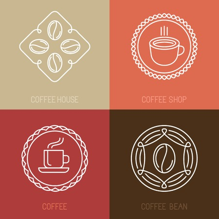 Vector set of coffee logos and icons in outline style - trendy emblems for coffee shops and houses Vector