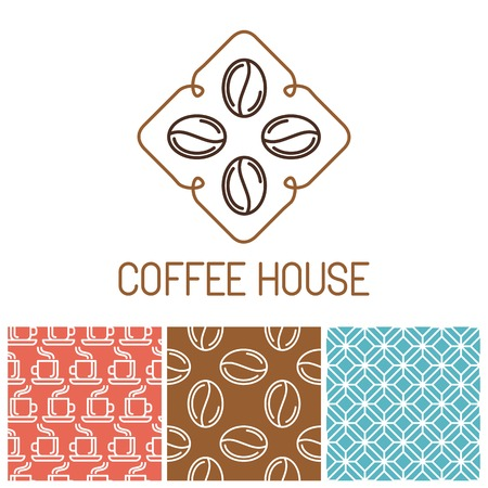 tea house: Vector set of coffee icons in outline style - trendy emblems for coffee shops and houses and seamless patterns for package Illustration