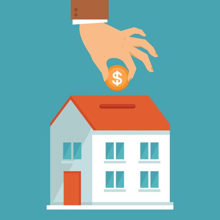 Vector investment concept in flat style - businessman\'s hand putting coin inside the house - real estate investment Stock Illustratie